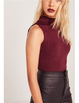 cut-out-back-bodysuit-burgundy by missguided