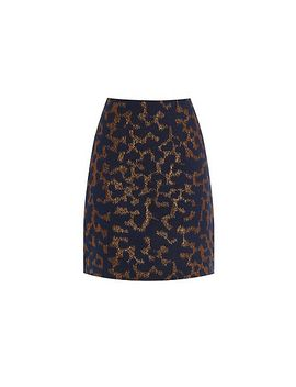 warehouse---disco-leopard-jacquard-skirt by warehouse