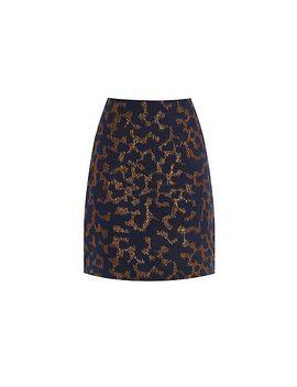 warehouse---disco-leopard-jacquard-skirt by warehouse