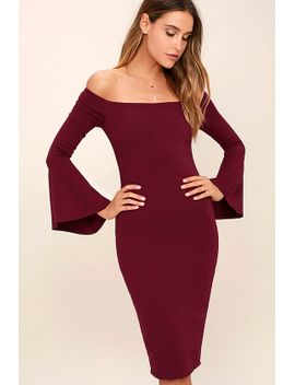 all-she-wants-burgundy-off-the-shoulder-midi-dress by lulus