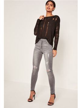 grey-sinner-highwaisted-authentic-ripped-skinny-jeans by missguided