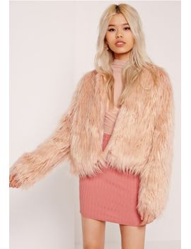 shaggy-faux-fur-coat-pink by missguided