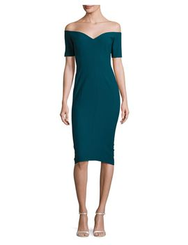birch-off-the-shoulder-sheath-dress,-green-topaz by cinq-a-sept