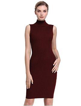 prettyguide-women-sleeveless-turtleneck-ribbed-knit-casual-bodycon-sweater-dress-burgundy-s by prettyguide