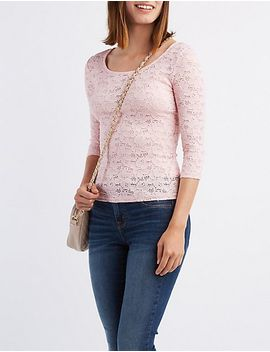 floral-lace-scoop-neck-top by charlotte-russe