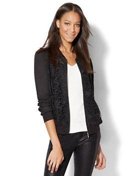 lace-overlay-bomber-jacket by new-york-&-company