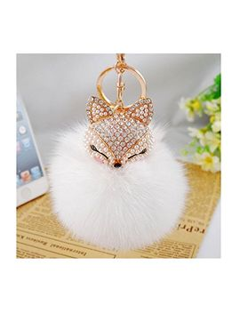 iuhan®-fashion-fox-fur-ball-with-artificial-fox-head-inlay-pearl-rhinestone-key-chain by iuhan