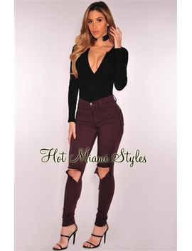 burgundy-ripped-knee-skinny-jeans by hot-miami-style