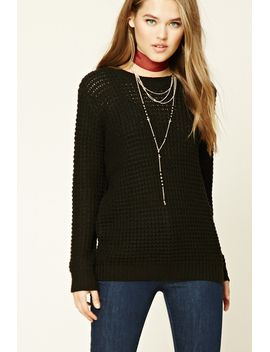 boxy-waffle-knit-sweater by forever-21