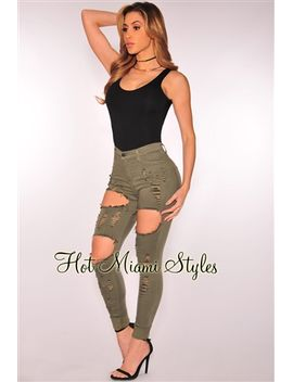 olive-destroyed-skinny-jeans by hot-miami-style