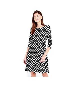 monochrome-jacquard-spot-fit-and-flare-dress by wallis