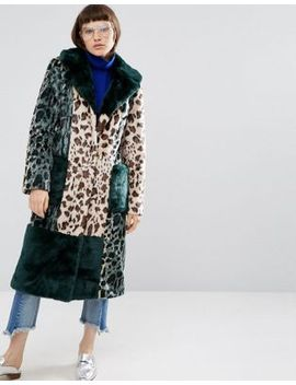 asos-longline-coat-in-patched-animal-faux-fur by asos-collection