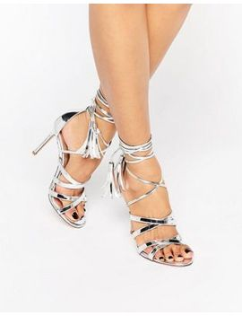 dune-london-munroe-strappy-tie-up-metallic-heeled-sandals by dune