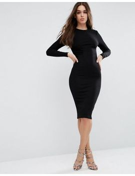 asos-midi-bodycon-dress-in-rib-with-long-sleeves by asos-collection