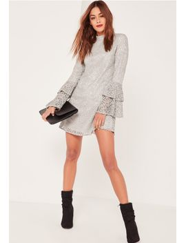 grey-layered-flared-sleeve-swing-dress by missguided