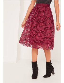 caroline-receveur-red-full-lace-midi-skirt by missguided