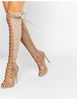 daisy-street-taupe-lace-up-ghillie-over-the-knee-boots by daisy-street