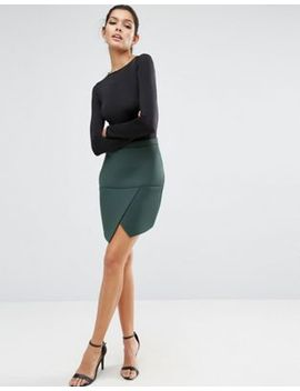 asos-mini-skirt-in-scuba-with-wrap-pep-hem-detail by asos-collection
