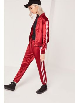 petite-stripe-panel-satin-joggers-red by missguided
