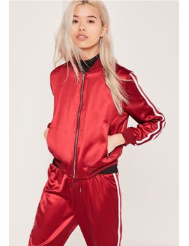 petite-exclusive-red-stripe-panel-satin-bomber-jacket by missguided