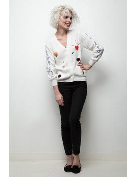kitschy-golf-sweater-quote-heart-embroidery-long-sleeve-white-top-vintage-70s-m by shoprabbithole