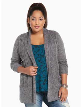marled-cable-knit-open-cardigan by torrid