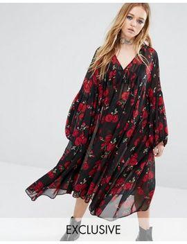 reclaimed-vintage-maxi-sheer-smock-dress-in-rose-print by reclaimed-vintage
