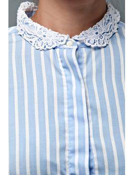 vintage-70s-blouse-top-blue-white-stripes-cotton-crochet-lace-collar-long-sleeves-l by shoprabbithole