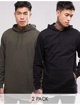 asos-longline-hoodie-2-pack-khaki_-black-save by asos