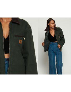 carhartt-jacket-grunge-90s-jacket-cargo-jacket-pocket-vintage-dark-green-brown-collar-retro-hipster-small-medium by shopexile