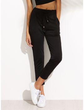 black-draw-cord-waist-pants by romwe