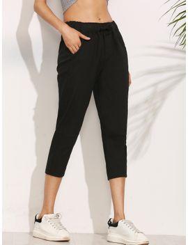 black-elastic-waist-peg-pants by romwe