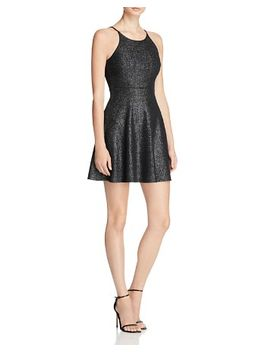 metallic-knit-fit-and-flare-dress by aqua