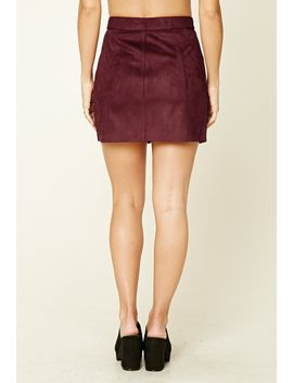 faux-suede-zip-front-mini-skirt by forever-21