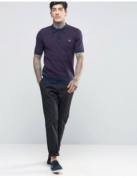 fred-perry-knitted-polo-shirt-with-stripe-in-vintage-navy-marl by fred-perry