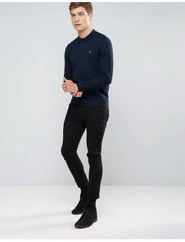 farah-slim-long-sleeve-rib-knit-polo-in-navy by farah
