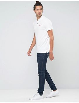 hollister-slim-pique-polo-stretch-seagull-logo-in-white by hollister
