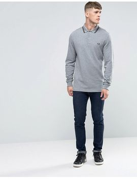 fred-perry-polo-shirt-with-long-sleeves-in-steel-marl by fred-perry