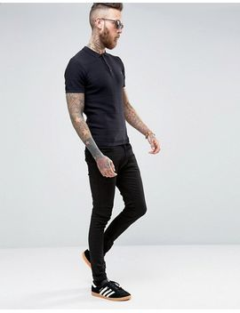 farah-knitted-polo-shirt-with-textured-stripe-in-slim-fit-black by farah