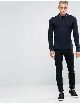 armani-jeans-polo-shirt-with-tipping-in-navy-slim-stretch-fit-long-sleeves by armani-jeans