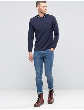 fred-perry-laurel-wreath-long-sleeve-polo-shirt-in-slim-fit by fred-perry-laurel-wreath-collection