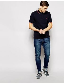 fred-perry-slim-fit-twin-tipped-polo-shirt-in-navy by fred-perry