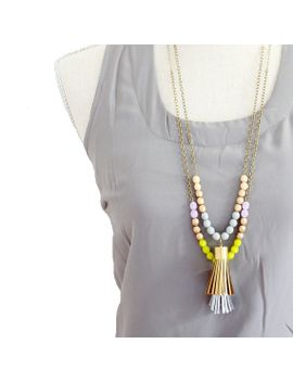 two-tassel-necklace,-long-leather-tassel-necklace,-color-block-bead-necklace by nestprettythingsshop