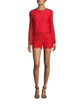 marisa-lace-back-zip-shorts by alice-+-olivia