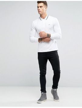armani-jeans-polo-shirt-with-tipping-in-white-slim-stretch-fit-long-sleeves by armani-jeans