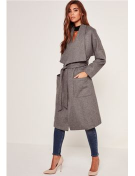 brushed-faux-wool-waterfall-coat-grey by missguided