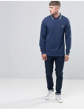fred-perry-polo-shirt-with-long-sleeves-in-service-blue by fred-perry