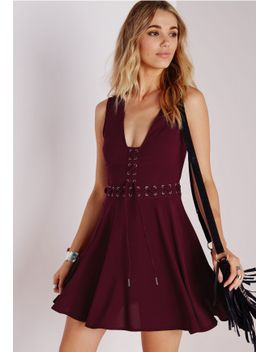 lace-up-front-skater-dress-wine by missguided
