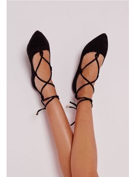 faux-suede-lace-up-pointed-ballerina-flats-black by missguided