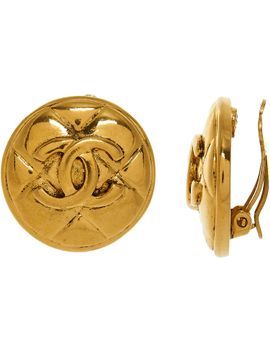 gold-toned-quilted-vintage-earrings by chanel